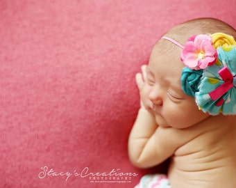 Candy Carnival -- ruffle, rosette and flower headband
