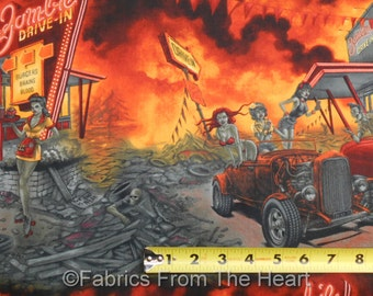 Zombie Drive In Pin Up Girls w Flames Rat Rod Cars BY YARDS AH Cotton Fabric