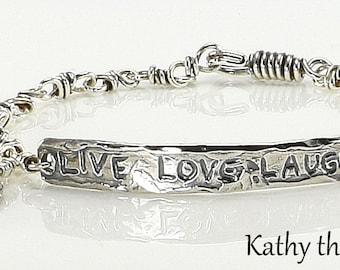 Sterling Silver Bracelet -Sterling Silver Live Love Laugh Rustic Chain Bracelet - KTBL