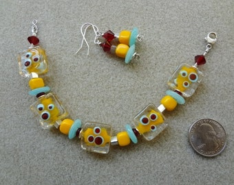 Bracelet & Earrings set - Handmade - Lampwork Glass, Glass, Hill Tribe, Sterling Silver