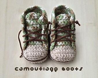 Crochet Pattern Sneakers Baby Booties Camouflage Baby Boots Baby Sneakers Crochet Patterns Baby Shoes Crochet Booties Newborn Sneakers Boots