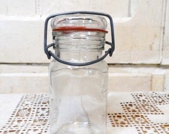 Wheaton Clear Glass Canning Jar with Wire Bale-Mini Glass Top-Rubber Seal-Locking Lid-Country Farm Chic Decor-Orphaned Treasure-090216E
