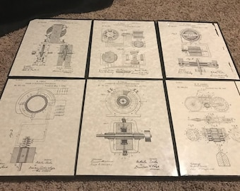 Framed Tesla Patent Prints - 6 Pack Assortment (Multiple Sizes)