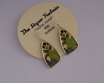handmade paper and wire earrings featuring green and white handmade paper and silver-filled French style ear wires