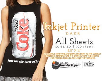 "Inkjet Iron-On Heat Transfer Paper, For Dark fabric, 8.5"" x 11"" Choose from 10, 25, 50, or 100 Sheets"