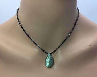 Black Spinel Necklace with Labradorite Briolette in Sterling Silver