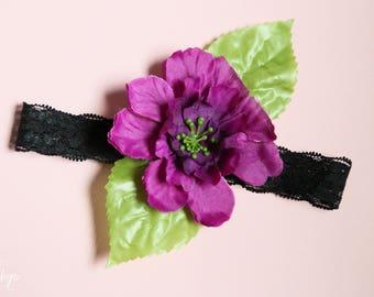 Black Lace Headband with Purple Flower