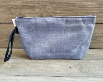 Small blue fabric project bag