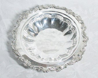 Vintage Silver Plate Footed Serving Bowl