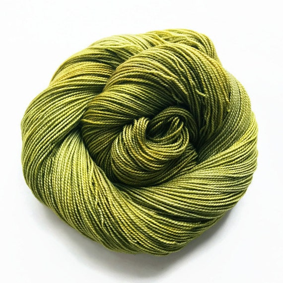 willow / hand dyed yarn / fingering sock dk bulky yarn / super wash merino wool yarn / single or ply/ choose base / golden green yellow yarn