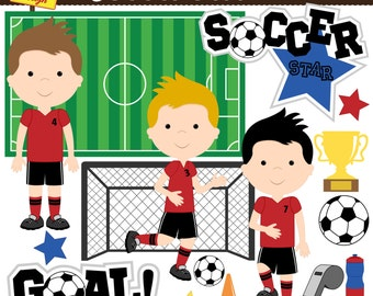 Soccer Clip Art  - Soccer Boys Clipart - Cute Digital Clipart - Personal Use - Commercial Use - Card Design, & Scrapbooking