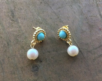 Turquoise and gold stud earrings