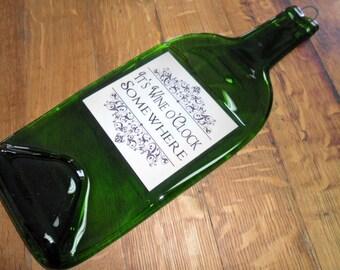 Flattened Wine Bottle - It's Wine O'clock Somewhere