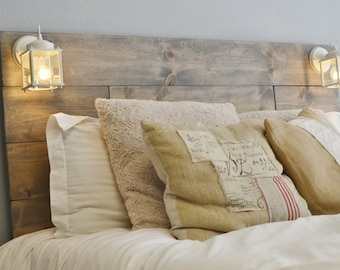 Wood Headboard with White Built in Lighting-Cordoba