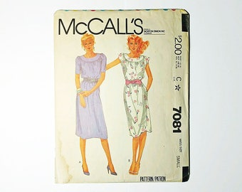 Vintage Pullover Dress and Tie Belt Sewing Pattern McCalls 7081 Bust 32 34 Size Small 10 12 Cut and Ready