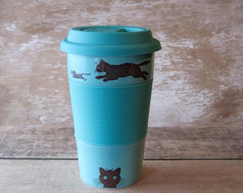 Ceramic Travel Mug Kitty Cat, Mouse and Yarn Discounted Second