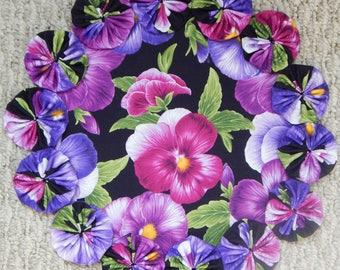 """Pink Purple Viola 12"""" Yo Yo Doily"""
