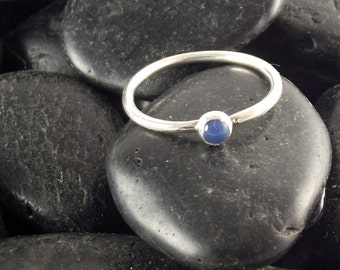 Blue Onyx Stacking Ring, Sterling silver stacking ring, Blue onyx ring, silver and blue onyx ring, stacking ring, stacker