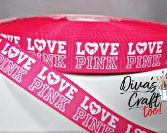 Victoria Secret Love Pink Grosgrain Ribbon - SUPER FAST SHIPPING
