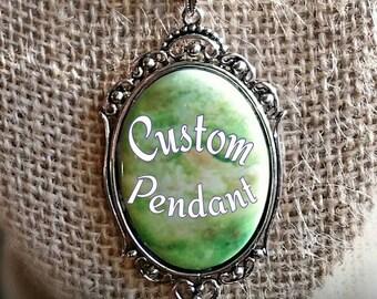 Personalized Pendant - Custom Cameo Pendant - Custom Name Necklace - Custom Bridesmaid Necklace - Personalized Necklace - Custom Jewelry