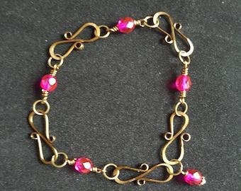 Wire Work Bracelet - Bronze wire and fuchsia pink beads