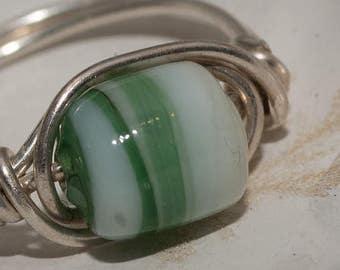 Green Striped Ring