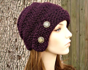 Knit Hat Womens Hat - Hybrid Swirl Cloche Hat in Eggplant Purple Knit Hat - Purple Hat Purple Beanie Womens Accessories Winter Hat