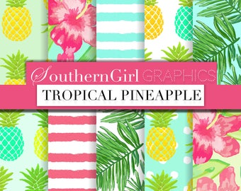 """Pineapple Aqua Digital Paper: """"PINEAPPLE"""" with pink, aqua, floral, tropical, leaves, hibiscus, watercolor patterns for crafts, stickers"""