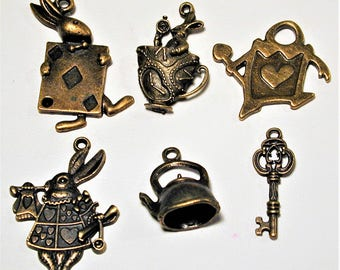 Alice in Wonderland Inspired Bronze Charm Collection  6pc C140