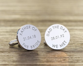 Personalized Engraved Silver Plated Father of the Bride/Groom Wedding Date Cuff links The Day We Met