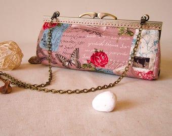 Handbag, Toiletry Bag, Kisslock Purse, Evening Purse, romantic, Bridesmaids gift, Bridal wedding, Bridesmaids clutch, Unique Gift