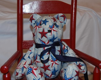 Americana bear, stuffed plush bear, handmade toy, nursery gift