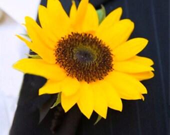 Sunflower wedding boutonniere,bridal accessories,artificial flowers