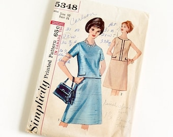"Shop SALE Vintage 1960s Womens Size 10 Two Piece Dress Simplicity #5348 Sewing Pattern Complete bust 31 waist 24"" A-line Skirt Short or Slee"