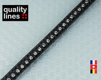 X 18CM - 6mm flat leather black rhinestones (18cm is enough to make a bracelet up to size XL)