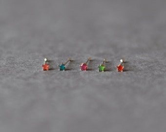 Set of Two /  Sterling Silver Tiny Star Nose Stud Ring  2mm
