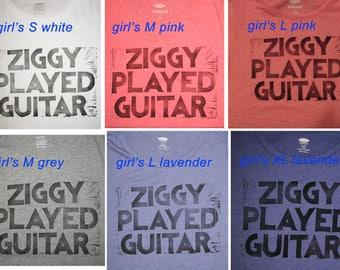 Kid's Ziggy Stardust lyrics t-shirt, hand-printed block David Bowie, children