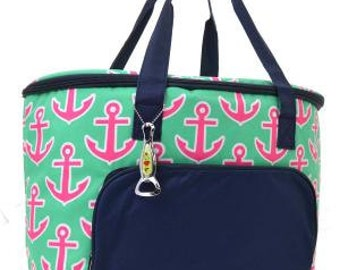 Insulated Cooler Bag.  Mint with Pink Anchor pattern.  Includes FREE Embroidery