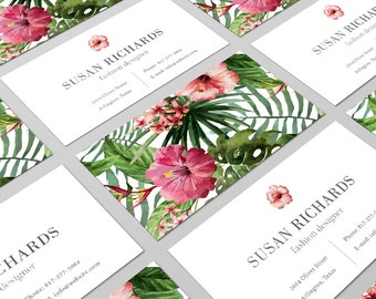 Tropical Business Card, Tropical Print, Floral Business Card, Business Card, Calling Card, Modern Business Card, Watercolor Card, Branding
