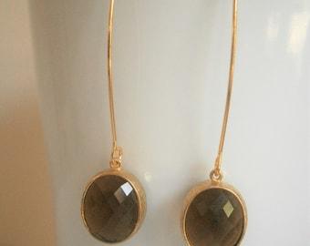 Smokey Quartz Earrings, Oval Glass, Brown Earrings, Best Friend Birthday, Bridesmaid Earrings