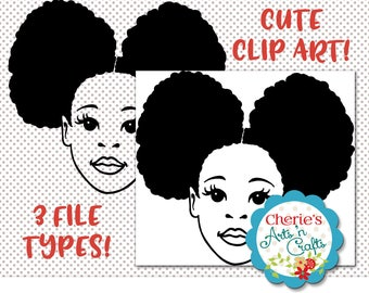Afro Puffs Little Girl | Natural Hair | Silhouettes | Little Girl Silhouette | Little Girl Clip Art | Designer Resources | PNG, SVG and JPG