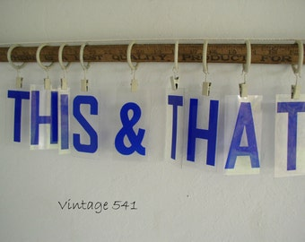 Vintage Sign Letters THIS & THAT Blue Acrylic Plastic Letters