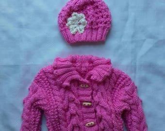 baby girl sweater, irish girl hat,Irish baby sweater,baby girl sweater,girl sweater, Irish sweater, baby sweater 6-12 month's, ready to ship