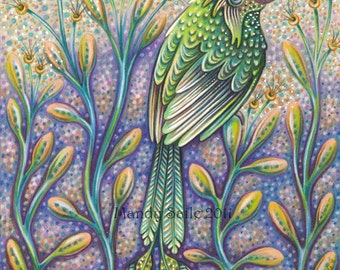 "Abundant In Strength - an 8 x 10"" ART PRINT of a unique green bird meant to inspire and act as a reminder to be strong and  kind to yourself"