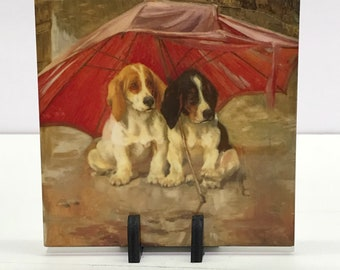 Basset Hound Puppies Under An Umbrella Ceramic Tile Trivet Coaster With Display Stand