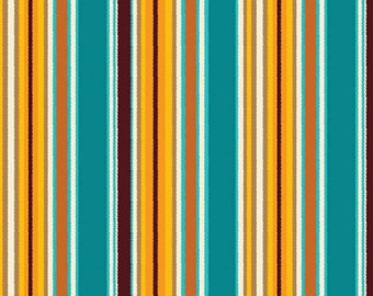 Turquosie Yellow and Brown Stripe Cotton Fabric in Yard, 3/4, Half and 1/4 Sundown Saddle Blanket for Quilting Sewing by Riley Blake