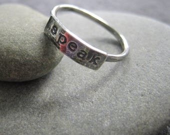 simple truths ring - speak -  sterling silver