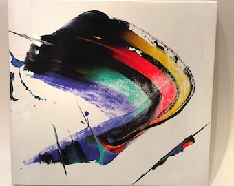 12 3/4 x 11 3/4 inches Abstract Art Acrylic Painting Canvas on board Ready to hang with hanger Contemporary Modern Paint