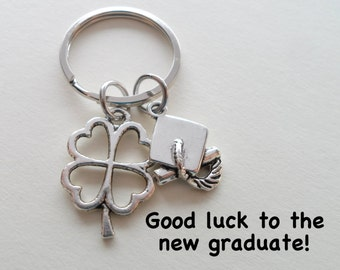 Clover Keychain With Cap Charm, Graduation Gift, Good Luck Gift for Graduation, Class of 2018 Graduate Gift, High School Grad Keychain Gift,