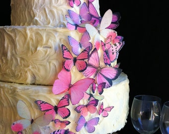Wedding Cake Topper The Original EDIBLE BUTTERFLIES - Assorted Pink set of 30 - Cake & Cupcake toppers - Food Accessories